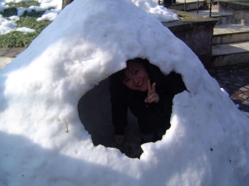 Kyoko pasando frío