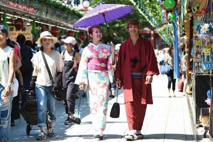Paseo en Kimono por Asakusa (Tokio).