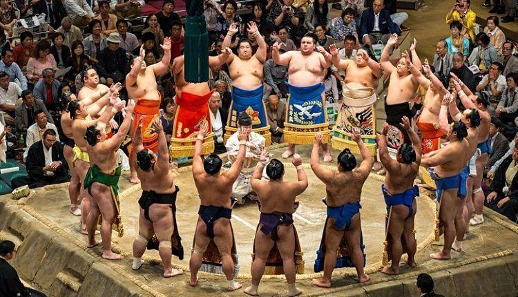 Comprar entradas para un torneo de sumo. Combate.