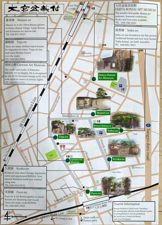 Mapa de viveros en Omiya. Tokio.